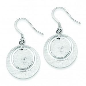 Textured Fancy Circle Dangle Earrings in Sterling Silver
