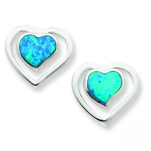 Created Blue Opal Inlay Center Heart Post Earrings in Sterling Silver