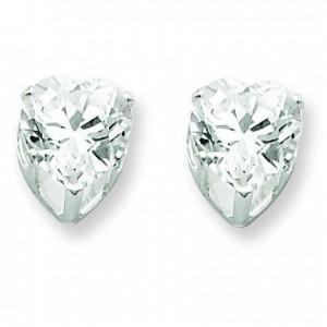 Heart Prong CZ Stud Earrings in Sterling Silver