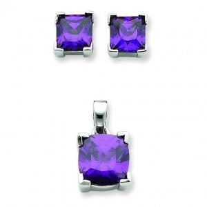 Purple CZ Pendant Earrings Set in Sterling Silver