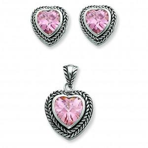Pink CZ Heart Pendant Earrings Set in Sterling Silver