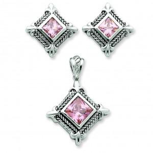 Pink CZ Pendant Earrings Set in Sterling Silver