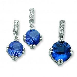 Blue Clear CZ Pendant Earrings Set in Sterling Silver