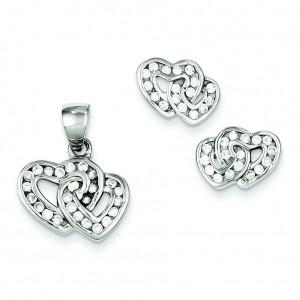 Double Heart CZ Pendant Earrings Set in Sterling Silver