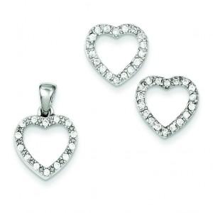 CZ Heart Pendant Earrings Set in Sterling Silver