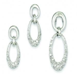 CZ Oval Earrings Pendant Set in Sterling Silver