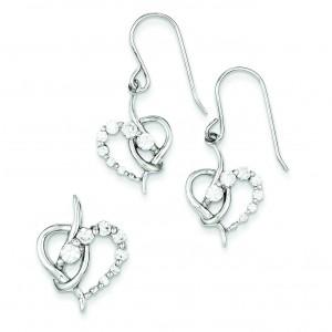 CZ Heart Earrings Pendant Set in Sterling Silver