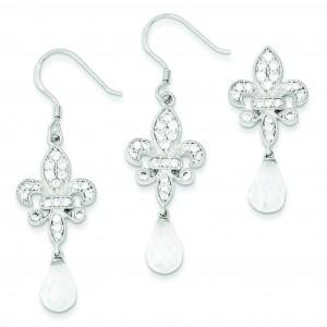 Fleur-de-lis CZ Earrings Pendant Set in Sterling Silver