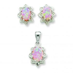 Opal CZ Pendant Earrings Set in Sterling Silver