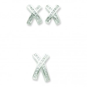 CZ X Earrings And Pendant Set in Sterling Silver