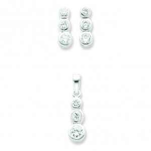 Stone CZ Earrings And Pendant Set in Sterling Silver