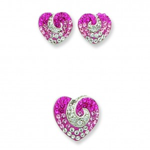 Pink CZ Crystal Heart Earrings And Pendent Set in Sterling Silver