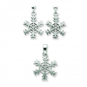 Snowflake Earrings And Pendant Set in Sterling Silver