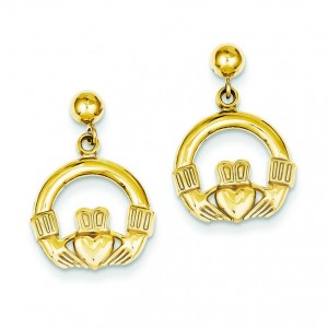 Dangling Claddagh Post Earrings in 14k Yellow Gold