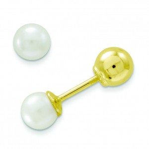 Reversible Cultured Pearl Gold Bead Earrings in 14k Yellow Gold