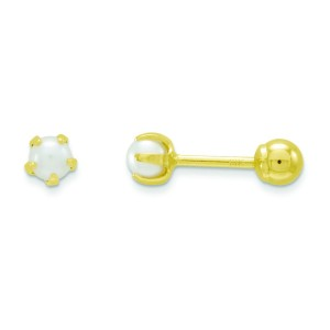 Reversible Cultured Pearl Bead Earrings in 14k Yellow Gold