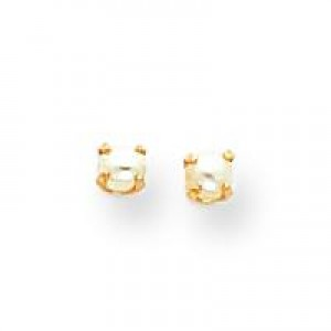 Baby Cultured Pearl Earrings in 14k Yellow Gold