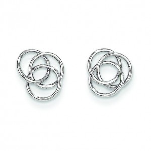 Love Knot Earrings in 14k White Gold