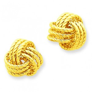 Twisted Love Knot Post Earrings in 14k Yellow Gold