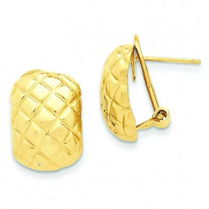 Quilted Omega Back Post Earrings in 14k Yellow Gold