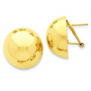 Half Ball Omega Back Post Earrings in 14k Yellow Gold