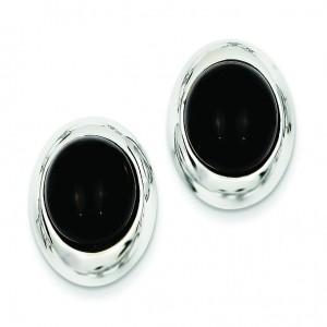 Onyx Omega Back Post Earrings in 14k White Gold