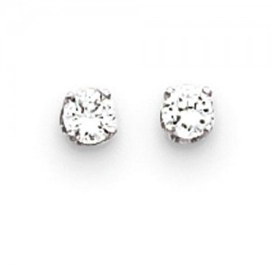 CZ Stud Earrings in 14k White Gold