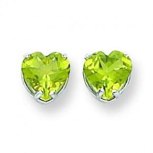 Heart Peridot Earring in 14k White Gold