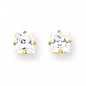 Cubic Zirconia Earrings in 14k Yellow Gold