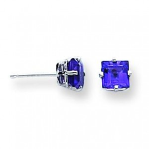 Princess Cut Amethyst Earrings in 14k White Gold