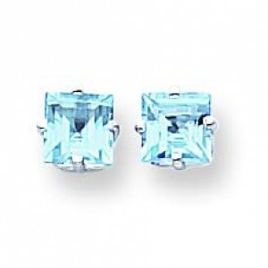 Princess Cut Blue Topaz Earrings in 14k White Gold