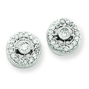 Vintage Diamond Earrings in 14k White Gold (0.21 Ct. tw.) (0.21 Ct. tw.)