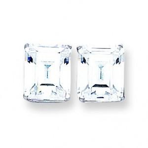 Cubic Zirconia Diamond Emerald Stud Earring in 14k White Gold