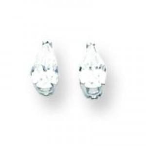 Cubic Zirconia Diamond Pear Stud Earring in 14k White Gold