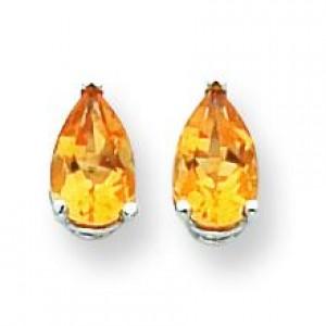 Pear Citrine Earring in 14k White Gold