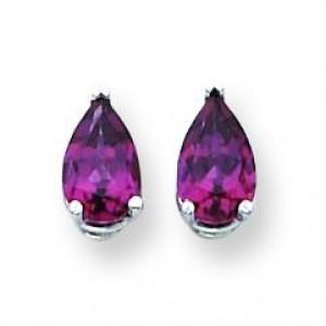 Pear Rhodalite Garnet Earring in 14k White Gold