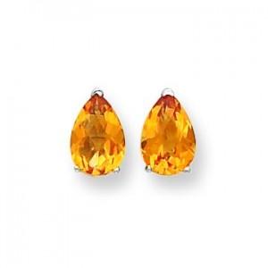 Pear Citrine Checker Earring in 14k White Gold