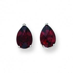Pear Garnet Checker Earring in 14k White Gold