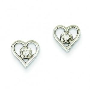 Diamond Heart Earring in 14k White Gold
