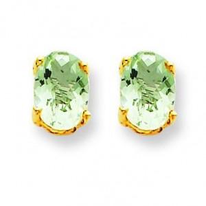 Oval Green Amethyst Earring in 14k Yellow Gold
