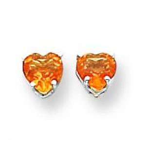 Heart Citrine Earring in 14k White Gold