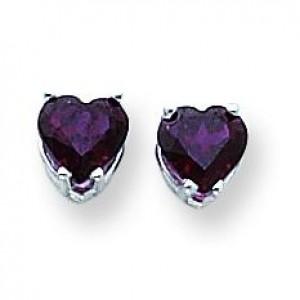 Heart Rhodalite Garnet Earring in 14k White Gold