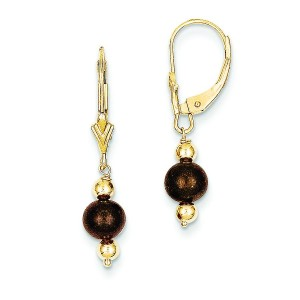 Chocolate Cultured Pearl Bead Leverback Earrings in 14k Yellow Gold