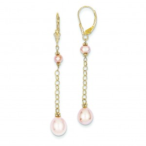 Cream Color Cultured Pearl Leverback Earrings in 14k Yellow Gold