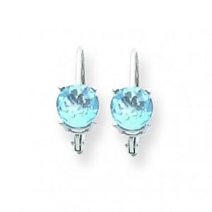 Blue Topaz Leverback Earring in 14k White Gold