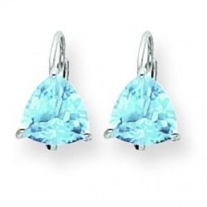 Trillion Blue Topaz Leverback Earring in 14k White Gold
