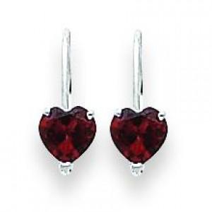 Heart Garnet Earring in 14k White Gold