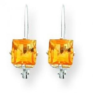Princess Cut Citrine Leverback Earring in 14k White Gold