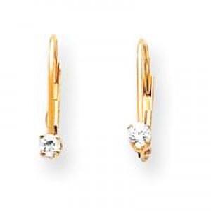 Diamond Leverback Earrings in 14k Yellow Gold (0.1 Ct. tw.) (0.1 Ct. tw.)