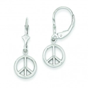 Peace Symbol Leverback Earrings in 14k White Gold
